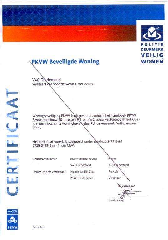 subknop 2 PKVW certificaat voorbeeld